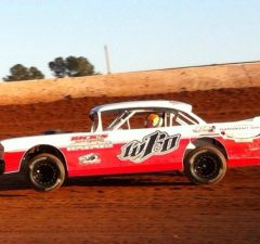 "Jeremy Idom of Hattiesburg, MS drove the Performance Bodies ""Throwback"" 1957 Chevrolet to the NeSmith Performance Parts Street Stock Division Presented By AR Bodies win on Friday night at Hattiesburg Speedway in Hattiesburg, MS.  (Photo Courtesy of Jeremy Idom)"