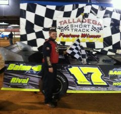 Point leader Adam Gauldin of Talladega, AL won his second-straight NeSmith Chevrolet Weekly Racing Series Late Model feature race on Saturday night at Talladega Short Track in Eastaboga, AL driving the Adam Gauldin Racing GRT.  (NeSmith Racing File Photo)