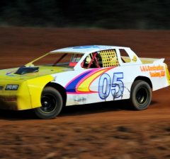 Doug Lea of Milton, FL drove the #05 L&L Construction Chevrolet to his second NeSmith Performance Parts Street Stock Division Presented By AR Bodies win of the 2014 season on Saturday night at Southern Raceway in Milton, FL.  (Photo By Phil)