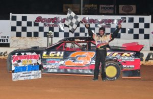 Larry Faulk of Pace, FL drove the L&H Construction Chevrolet powered by a $3,295 Chevrolet Performance 602 Circle Track Engine to twin wins Saturday night in NeSmith/AR Bodies Street Stock competition at Southern Raceway in Milton, FL.  Faulk picked up his second win of the season in the Week 2 Make-Up Race, and then followed that up with win number three on the season in the Week 18 second feature race of the evening.  (Photo By Phil)