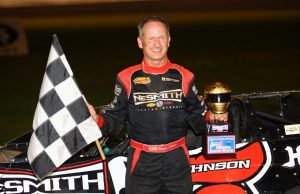 Ronnie Johnson of Chattanooga, TN celebrates his fifth NeSmith Chevrolet Dirt Late Model Series win of the 2014 season on Sunday night at Magnolia Motor Speedway in Columbus, MS driving the #5 NeSmith Chevrolet Special.  The defending NeSmith Chevrolet DLMS National Champion started 15th and extended his point lead with the victory.  (Heath Lawson Photo)