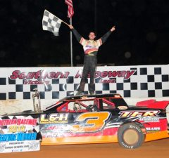 Larry Faulk of Pace, FL performs a Roof Dance on his #3 L&H Construction Chevrolet powered by a $3,295 Chevrolet Performance 602 Circle Track Engine after winning his fifth NeSmith Performance Parts Street Stock Division Presented By AR Bodies race of the 2014 season on Saturday night at Southern Raceway in Milton, FL.  Faulk will be looking to keep his NeSmith/AR Bodies National Championship hopes alive with victories in the Double Features at Southern Raceway this Saturday night.  (Photo By Phil)