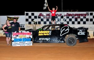 Branden Harris of Molino, FL took his second win of the season on Saturday night at Southern Raceway in Milton, FL driving the #2 Coastal Engine and Machine Chevrolet to net 25 points.  That moved Harris from sixth to fourth in the NeSmith/AR Bodies Street Stock Division standings with a best 14 week total of 644 points.  (Photo By Phil)