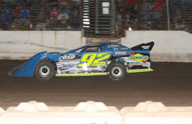 Delbert Smith of Wichita, KS in the #92 BSB Manufacturing Special is one of five drivers that will be battling for the third spot in the 2014 NeSmith Chevrolet Weekly Racing Series point standings in Week 26 competition this Friday night and Saturday night in the 27-week season.  (Salina Speedway Photo)