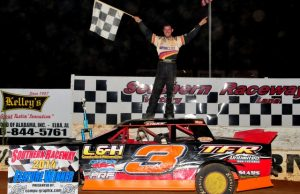 Larry Faulk of Pace, FL is second in the NeSmith/AR Bodies Street Stock Division standings with a best 14 week total of 686 points, and can net on a 46 in the final week of the season.  If Faulk can take his seventh 50-point win of the season on Saturday night in the #3 L&H Construction Chevrolet powered by a $3,295 Chevrolet Performance 602 Circle Track Engine, he can bring his season total up to 690 points and the National Championship Runner-Up honors.  (Photo By Phil)