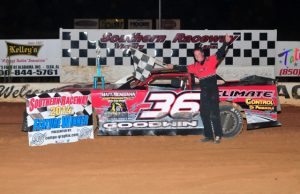 Sean Goodwin of Pensacola, FL took his third NeSmith Performance Parts Street Stock Division Presented By AR Bodies win of the 2014 season on Saturday night at Southern Raceway in Milton, FL driving the #36 Climate Control of Pensacola Chevrolet.  (Photo By Phil)