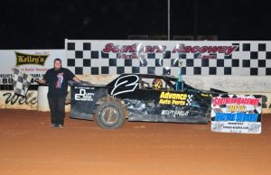 Branden Harris of Molino, FL drove the #2 Coastal Engine and Machine Chevrolet to his fourth NeSmith/AR Bodies Street Stock Division win of the season on Saturday night at Southern Raceway in Milton, FL.  Harris was able to net nine points and bring his best 14 week total to 671 points and the sixth spot in the standings.  Harris has four wins, 14 top five finishes and 18 top ten finishes in 23 races, and he will try to net on a 43 this weekend in Week 27 action, the final week of the season.  (Photo By Phil)
