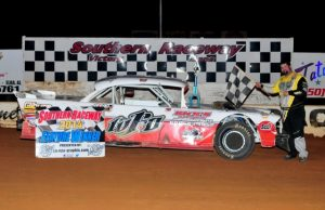 """Jeremy Idom of Hattiesburg, MS picked up his 13th NeSmith Performance Parts Street Stock Division Presented By AR Bodies win of the 2014 season last Saturday night at Southern Raceway in Milton, FL driving the Precision Bodies """"Throwback"""" 1957 Chevrolet.  With a Week 24 win this weekend, Idom can clinch the 2014 NeSmith/AR Bodies National Championship.  (Photo By Phil)"""