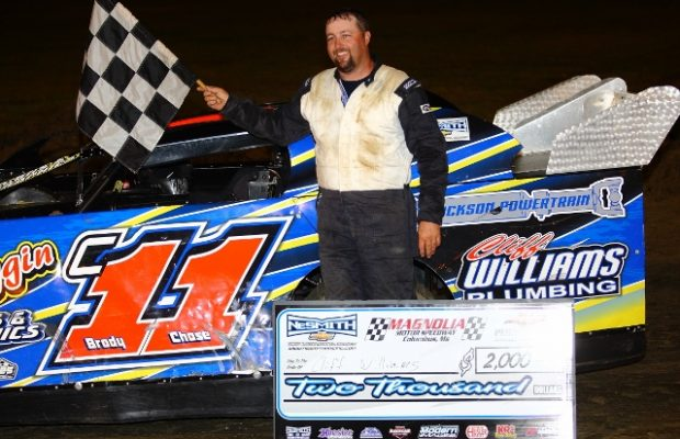 Cliff Williams of Star, MS was awarded the NeSmith Chevrolet Dirt Late Model Series win on Sunday night at Magnolia Motor Speedway in Columbus, MS driving the Cliff Williams Plumbing Trak-Star.  (Heath Lawson Photo)