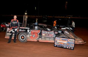 Ronnie Johnson of Chattanooga, TN clinched his second straight $20,000 NeSmith Chevrolet Dirt Late Model Series National Championship after his record-breaking eighth series win of the season on Friday night at Golden Isle Speedway in the NeSmith Chevrolet Special.  The victory was also the closest finish in the ten-year history of the series, as Johnson's margin of victory over Brent Barrett of Cleveland, MS in night one of the Showdown On The Coast was .004 seconds.  (Troy Bergy/speedwayphotogrphy.smugmug.com Photo)