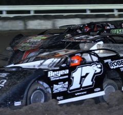 Three-wide racing has become common-place in the Chevrolet Performance World Championship Race for the NeSmith Late Models at Bubba Raceway Park in Ocala, FL.  One of the most impressive and competitive group of the top dirt late model drivers in country will assemble at Bubba Raceway Park this Thursday through Saturday for the 10th Anniversary of the $10,000-to-win 100-lap race.  (Photo by photosbytrace.com)