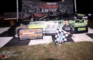 Max Blair of Centerville, PA celebrates his NeSmith Late Model win on Thursday night in the Rock Auto.com Winternationals at Bubba Raceway Park in Ocala, FL driving the R&J Poultry Rocket.  With a win and third-place showing in the first two nights of racing, Blair leads the NeSmith Late Model point standings.  (PhotosByTrace.com)