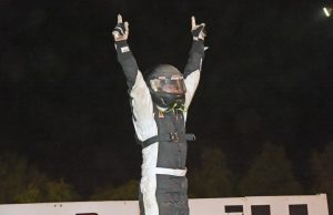 Joseph Joiner of Milton, FL performs the Roof Dance on Saturday night at Southern Raceway in Milton, FL after winning the 2015 season opener for the NeSmith Panhandle Challenge Series driving the Three Trade Consultants Special.  (Brian McLeod Photo)