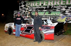 John Smartt of Manchester, TN drove the #S1 Frontline Race Cars Chevrolet powered by a $3,495 Chevrolet Performance 602 Circle Track Engine to his second NeSmith/AR Bodies Street Stock Division win of the 2015 season on Saturday night at Duck River Raceway Park in Wheel, TN.  That moved Smartt up to the fourth spot in the National standings with 187 points after two wins and four top five finishes in four races.
