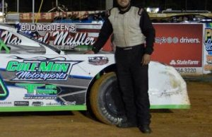 Brooks Strength of Raymond, MS remained undefeated in 2015 NeSmith/AR Bodies Street Stock Division competition after driving the #18 Sauls Farm Chevrolet powered by a $3,495 Chevrolet Performance 602 Circle Track Engine to his third win in three races Friday night at Hattiesburg Speedway in Hattiesburg, MS.  (Yellowcautionflag.com Photo)