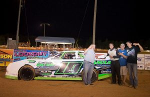 Brooks Strength of Raymond, MS celebrates his fourth straight NeSmith/AR Bodies Street Stock Division win of the 2015 season last Friday night at Hattiesburg Speedway in Hattiesburg, MS driving the Sauls Farm Chevrolet powered by a $3,495 Chevrolet Performance 602 Circle Track Engine.  Strength will enter Week 6 competition this weekend third in the NeSmith/AR Bodies Street Stock Division point standings, but with the highest Weekly Point Average, a perfect 50.  (Yellowcautionflag.com Photo)