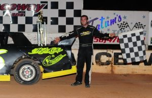 Calvin Cook of Pace, FL drove the #6 A&P Welding/High Roller Race Cars By Cook Chevrolet powered by a $3,495 Chevrolet Performance 602 Circle Track Engine the NeSmith/AR Bodies Street Stock Division victory on Saturday night at Southern Raceway in Milton, FL. (photosbyphil.com Photo)