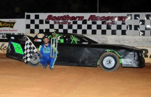 After celebrating his third win of the season last Saturday night at Southern Raceway in Milton, FL, Mike Lane of Pace, FL will be looking for his fourth NeSmith Performance Parts Street Stock Division Presented By AR Bodies win of the 2015 season this weekend in Week 8 competition.  Lane drives the #8 Rocketman Race Cars Chevrolet powered by a $3,495 Chevrolet Performance 602 Circle Track Engine.  (Photos By Phil Photo)