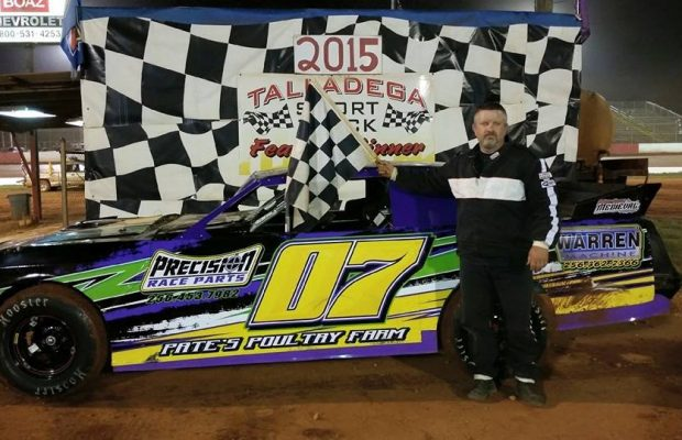 Steve Pate of Heflin, AL is 18th in the NeSmith/AR Bodies Street Stock Division standings with 235 points, but he has the third highest Weekly Point Average among the Top 20 drivers in the standings at 47 out of a possible 50.  Pate drove the #07 Pate Racing Chevrolet to his first win of the season last Saturday night at Talladega Short Track in Eastaboga, AL.  (TST Photo)