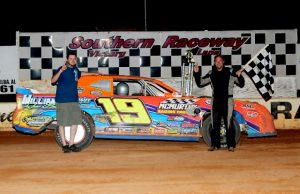 """Michael Williams of Meridian, MS took his first NeSmith/AR Bodies Street Stock Division win of the season last Saturday night at Southern Raceway in Milton, FL driving the #19 Williams Race Cars Chevrolet powered by a $3,495 Chevrolet Performance 602 Circle Track Engine.  Williams will be trying to become the first driver in the three-year history of the NeSmith/AR Bodies Street Stock Division to win """"The Quinella"""" over the Memorial Day Holiday Weekend by winning four races over four night from Friday through Monday.  (photobyphil.com Photo)"""