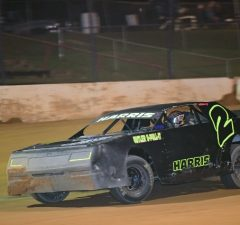 Brandon Harris of Molino, FL will be looking to defend his home turf this Saturday night driving the #2 Coastal Engine and Machine Chevrolet powered by a $3,495 Chevrolet Performance 602 Circle Track Engine in the $1,000-to-win race co-sanctioned by the NeSmith/AR Bodies Street Stock Division and the Mississippi Street Stock Series at Flomaton Speedway in Flomaton, AL.  Harris, who is second in the NeSmith/AR Bodies Street Stock Division point standings, tuned up for the race last Saturday night by outrunning point leader Richie Stephens of Salem, AL at Flomaton Speedway.  (NeSmith Media Photo)