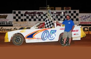Bo Bailey of Milton, FL moved up to the eighth spot in the NeSmith/AR Bodies Street Stock Division point standings after his first win of the season on Saturday night at Southern Raceway in Milton, FL driving the #05 L&L Construction Services Chevrolet.  Bailey has 351 points after one win and seven top five finishes in eight races.  (photosbyphil.com Photo)