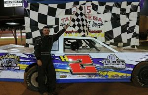 After turning in nine NeSmith/AR Bodies Street Stock Division wins in the 2014 season, Tyler Hurst of Lineville, AL made his 2015 debut a successful one by driving the #H2 Hurst Construction Chevrolet powered by a $3,495 Chevrolet Performance 602 Circle Track Engine to victory on Saturday night at Talladega Short Track in Eastaboga, AL.  (TST Photo)