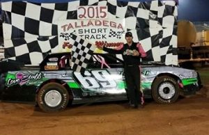 Point leader Richie Stephens of Salem, AL celebrates his sixth straight NeSmith/AR Bodies Street Stock Division win last Saturday night at Talladega Short Track in Eastaboga, AL driving the #69 Rocketman Race Cars Chevrolet powered by a $3,495 Chevrolet Performance 602 Circle Track Engine.  Stephens is now tied with Roger Flynn of Denham Springs, LA, who first set the record for the most consecutive wins at six in 2013.  Stephens will attempt to set a new record this weekend in NeSmith/AR Bodies Street Stock Division Week 12 action.  (TST Photo)