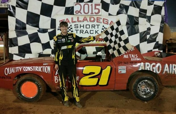 Russell Chapman of Margaret, AL took his second NeSmith/AR Bodies Street Stock Division win of the season on Saturday night at Talladega Short Track in Eastaboga, AL driving the #21 Argo Air Chevrolet powered by a $3,495 Chevrolet Performance 602 Circle Track Engine.  (TST Photo)
