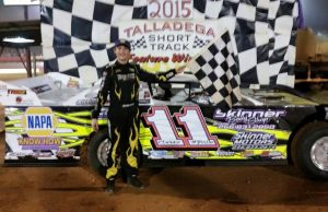 Youth is served in the NeSmith Chevrolet Weekly Racing Series, as 13-year-old Cruz Skinner of Oxford, AL drove the #11 Skinner's Body Shop CVR to his sixth win of the season last Saturday night at Talladega Short Track in Eastaboga, AL.  Skinner is eighth in the NeSmith Chevrolet Weekly Racing Series point standings, but he has the second highest Weekly Point Average at 48.42 out of a possible 50.  Skinner also leads the Sunoco Young Guns Challenge Series points for NeSmith Late Model drivers 18 years of age and younger.  (TST Photo)