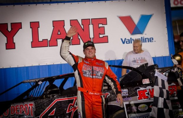 John Ownbey of Cleveland, TN held off a late-race challenge from Cleveland, TN neighbor Riley Hickman during the last ten laps of the race, and drove the Auto Depot Special to his third NeSmith Chevrolet Dirt Late Model Series win of the season on Saturday night at Kentucky Lake Motor Speedway.  Ownbey led the 50-lap race three times for a total of 40 laps.  Just when it looked like Ownbey had the field covered, Hickman showed up and showed out after a lap 36 restart.  Hickman had incentive to win, as he was racing for a $1,000 Bonus if he could repeat Friday night's win at Kentucky Lake Motor Speedway.  As the lead duo worked through heavy lapped traffic, Hickman went between Ownbey and a lapped car to take the lead on lap 39.  Next, it was Hickman's turn to lead through a pile of lapped traffic, and Ownbey got around Hickman on lap 48, and then went on to take the $2,500 win.  (Bruce Carroll NeSmith Media Photo)