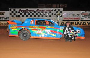 David Windham of Florala, AL picked up his second NeSmith Performance Parts Street Stock Division win of the season on Saturday night at Southern Raceway in Milton, FL driving the Florala Pharmacy Chevrolet powered by a $3,495 Chevrolet Performance 602 Circle Track Engine.  (Photo By Phil)