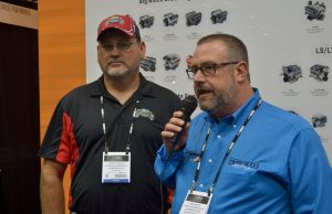 NeSmith Racing Founder and CEO Mike Vaughn (right) announces that Golden Isles Speedway in Brunswick, GA has signed on with the NeSmith Performance Parts Street Stock Division for the 2016 season.  Golden Isles Speedway Promoter Darryl Courson (left) joined Vaughn for the announcement today at the Performance Racing Industry Show in Indianapolis, IN.  (NeSmith Media Photo by Bruce Carroll)