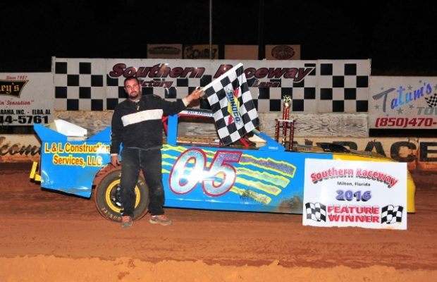 Bo Bailey of Milton, FL picked up a 40-point NeSmith Performance Parts Street Stock Division win on Saturday night at Southern Raceway in Milton, FL in Week 5 competition driving the #05 L&L Construction Services Chevrolet powered by a $3,495 Chevrolet Performance 602 Circle Track Engine.  (Photo by Phil)