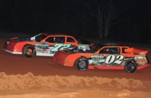 Father and son, Papa Frank Wilson of Milton, FL in the #72 and his 13-year-old son J.C. Wilson, battle side-by-side in the NeSmith Performance Parts Street Stock Division race on April 2 at Southern Raceway in Milton, FL (Photo Courtesy of Wilson Racing)
