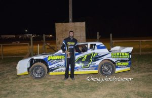 Jared Hayes of Jonesboro, AR took his third NeSmith Performance Parts Street Stock Division win of the season on Friday night in Week 4 action at NEA Speedway in Harrisburg, AR driving the #4 Parrish Farms Chevrolet powered by a $3,495 Chevrolet Performance 602 Circle Track Engine.  (@muggshotsbytammy Photo)