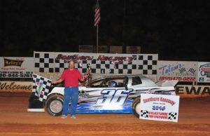 Jim Jarvis of Navarre, FL was the NeSmith Performance Parts Street Stock Division Week 3 winner on Saturday night at Southern Raceway in Milton, FL driving the #36 Taylor Made Performance Chevrolet powered by a $3,495 Chevrolet Performance 602 Circle Track Engine.  (Photo by Phil)