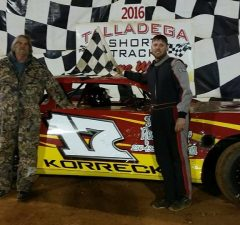 Cory Korreckt of Lincoln, AL will be looking for his second straight NeSmith Performance Parts Street Stock Division win at Talladega Short Track in Eastaboga, AL this Saturday night in Week 4 competition of the 27-week 2016 season.  There are 14 races in eight states on the Week 4 schedule of events.  (TST Photo)