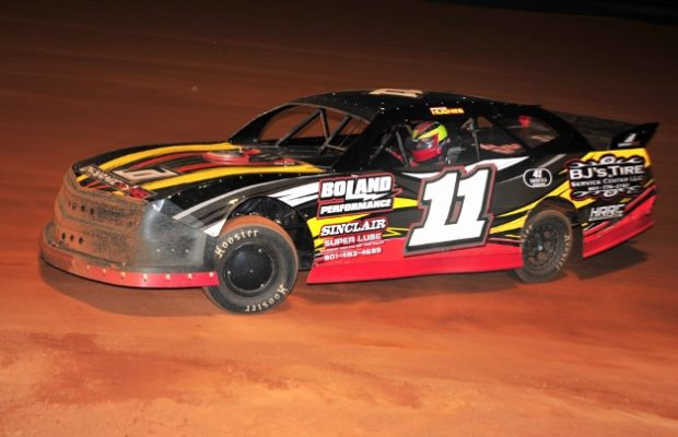 Spencer Hughes of Meridian, MS continued his domination in the NeSmith Performance Parts Street Stock Division during Week 6 competition.  The 15-year-old driver came home with his fourth win in five starts on Saturday night at Southern Raceway in Milton, FL driving the  #11 B.J.'s Tire and Service Center Chevrolet powered by a $3,495 Chevrolet Performance 602 Circle Track Engine.  (Photo by Phil)