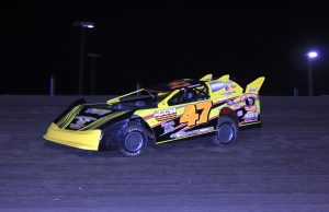 Shannon Lee of Lumberton, MS drove the #47 Billy Riels Racing Special to a 40-point win on Saturday night at LA 36 Speedway in Lacombe, LA to remain the NeSmith Chevrolet Weekly Racing Series point leader after Week 8 competition.  Lee is the only driver to have raced in all eight weeks.  (NeSmith Media Photo)