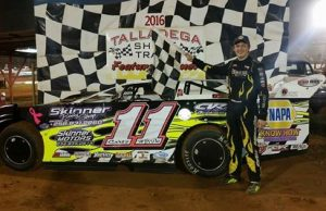 The 2015 Sunoco Young Guns Challenge Series Champion 14-year-old Cruz Skinner of Oxford, AL drove the #11 Skinner's Body Shop CVR to his second NeSmith Chevrolet Weekly Racing Series win of the season on May 7 at Talladega Short Track in Eastaboga, AL.  Skinner will be trying to race his way into title contention in Week 8 competition this weekend.  (TST Photo)