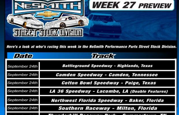 NeSMITH PERFORMANCE PARTS STREET STOCK DIVISION WEEK 27 PREVIEW