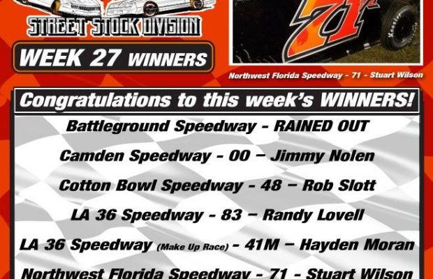 NeSMITH PERFORMANCE PARTS STREET STOCK DIVISION WEEK 27 ROUND UP